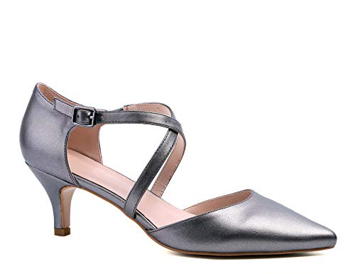 Greatonu Sandalias de tobillo para mujer Low Kitten Heels Court Shoes, color, talla 39 EU