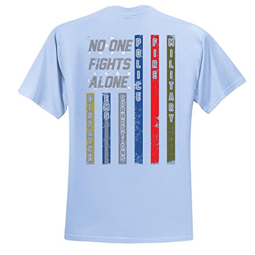 No One Fights Alone First Responder T Shirt Dispatcher EMS Corrections Police Fire Military Unity T-Shirt American Flag Tee, Light Blue, X-Large
