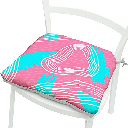 Chickwin Cojines para Silla con Correas de Sujeción, Multicolor Estampado Pack 2 Cojín Decorativo de Asiento Cojines Acolchados de sillas para Terraza Jardín Sala Balcón (40x40cm,Rosado)