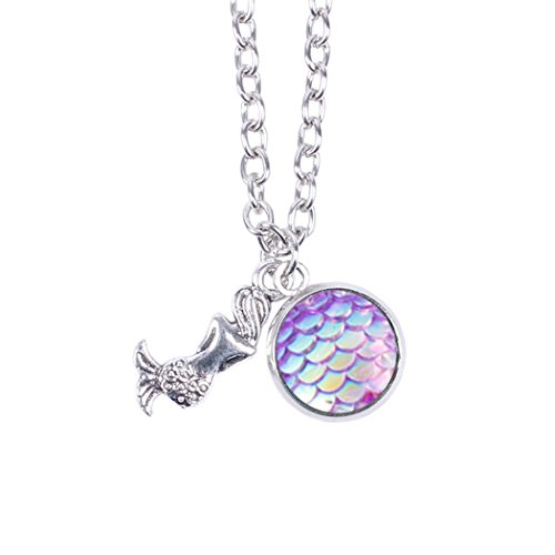 Myhouse Women Girls Colorful Fish Scales Pattern Mermaid Pendant Necklaces for Gifts Charms Findings (Purple)