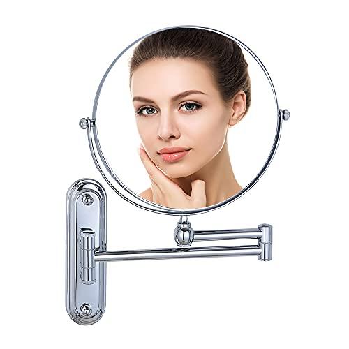 Doppel Wand Kosmetikspiegel 10-Fach Vergroesserung und Normal, Wandspiegel Rund Silber, Schminkspiegel mit Wandmontage und Vergrößerung, Verchromt 20 cm