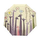 LIUBT - Paraguas con diseño de jirafa, 3 pliegues, automático, abierto, sol, lluvia, antiUV