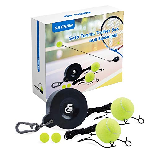 Tennis Trainer Rebound Ball Portable Training Tool for Solo/Self at Home Hitting Workout Drills Practice Coaching – Pro Rebounder Set with Iron Base Balls Rope String Tether