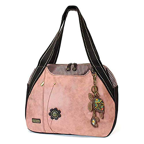 Chala Handbags Dust Rose Shoulder Purse Tote Bag with Bird Key Fob/coin purse - Twin Turtles Dusty Rose