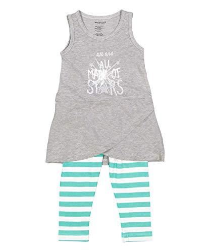 nous sommes tous les faits d'étoiles Fille bébé Robe d'été et Legging Gris vert blanc - Gris - 6-12 mois