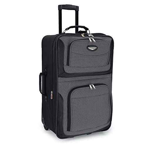 Travel Select Amsterdam Expandable Rolling Upright Luggage, Gray, Checked-Medium 25-Inch