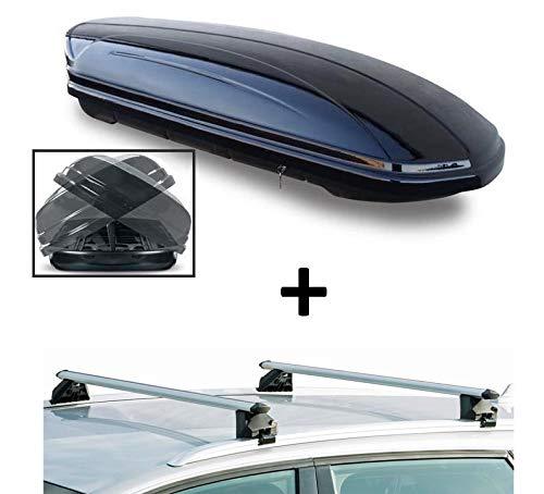 VDP Skibox MAA580D beidseitig aufklappbar + Alu Relingträger VDPCRV107A kompatibel mit Audi Q3 5 Türer ab 2011