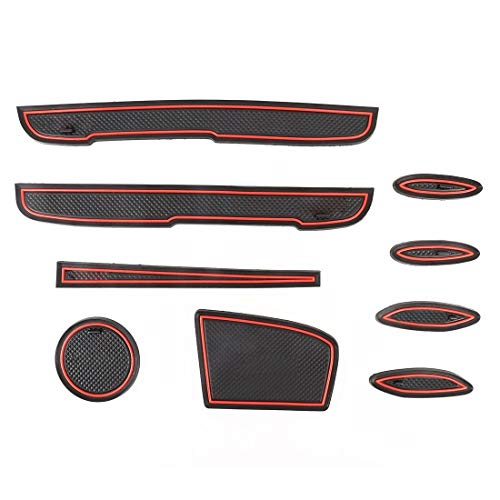 XUAILI auto-interieursticker, stijlvolle kwaliteit, auto-water-cup-deurslot, mats, kunststof, rood, anti-slip binnendeur-pad, voor Toyota Vios 2014-2016