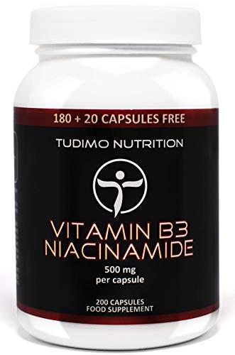 Vitamine B3 500 mg - Flush Free Nicotinamide Capsules - 200 st. (6+ Maanden Voorraad) van Snelle Desintegrerende Capsules elk met 500mg Premium Kwaliteit non-flushing Niacinamide vorm van Vitamine B3 Poeder