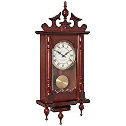 Bedford Clock Collection Classic 31 Chiming Wall Clock with Roman Numerals and A Swinging Pendulum in a Cherry Oak Finish