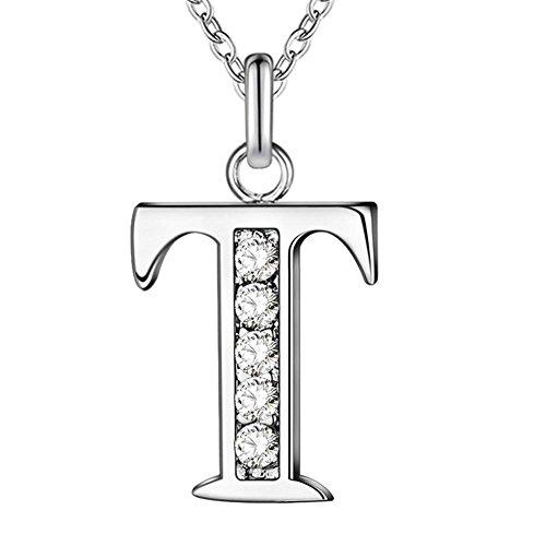pu ran Simple Shiny Zircon 26 English Letters Pendant Women Men Necklaces Jewelry - T