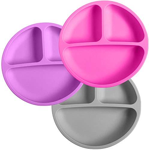 Silikong Platos de silicona divididos para niños pequeños, sin BPA, apto para lavavajillas, microondas y horno, platos infantiles con...
