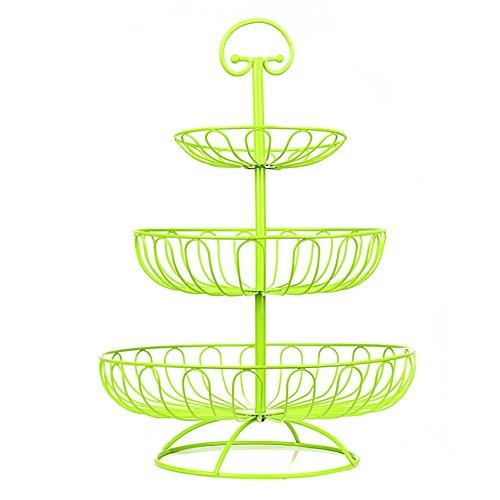 AparkEU Obst Etagere - 40 cm Obstkorb für mehr Platz auf der Arbeitsplatte - Obstschale Metall als dekorativer Hingucker in Ihrer Landhaus-Küche, 3 Ablagekörbe, 30 cm, 24 cm, 17cm (Farbe: Grün)