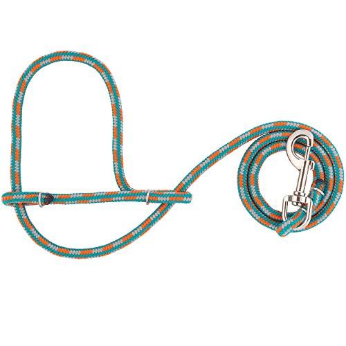 Weaver Leather Rope Sheep & Goat Halter, Orange/Gray/Teal, 52'