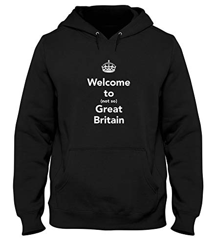 Sweatshirt a Capuche Noir TKC4176 Keep Calm and Welcome to Not So Great Britain
