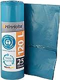 Hinrichs 120 L Sacchi per la Spazzatura - Rotolo da 25-70x110 cm - 70µ - LDPE - Blu...