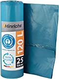 Hinrichs Bolsas de Basura 120 L – Gran Resistencia al desgarro – Rollo de 25 – Tipo 100 Extra – Sacos de Basura XXL Bolsas de Basura – 70 μ – 700x1100 mm – LDPE – Azul