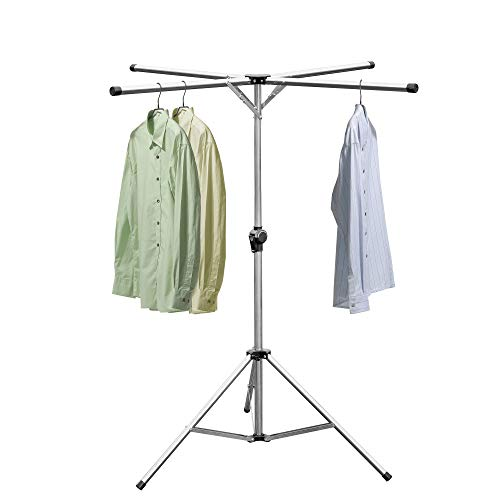 PENGKE Foldable Clothes Drying Laundry Rack Portable Space Saving, Adjustable High Capacity 4 Poles Stainless Steel Laundry Drying Rack