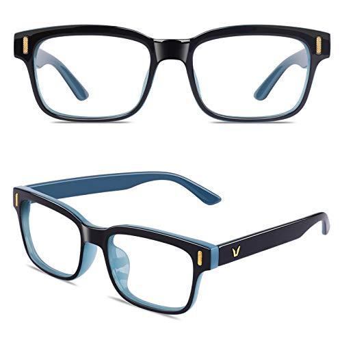 CGID CT84 Gafas para Protección contra Luz Azul, para Computadora, Lectura, Video Juegos, Protección de Fatiga Visual y contra Rayos UV,Rectángulo Vintage, Lentes Transparente ✅