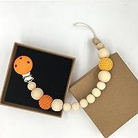 Kissteether 赤ちゃんのおしゃぶりのクリップ木製のラウンドベビー歯ブラシは、安全な自然環境に優しい看護のおもちゃをクリップ (木製の色 3)