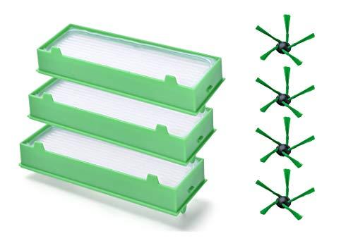 Leadaybetter 7 Stück Zubehör/Ersatzteile für Vorwerk Kobold VR200 3 HEPA Filter + 4 Seitenbürsten Set für Vorwerk Kobold VR200 Staubsaugerwechse