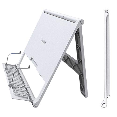 Readaeer Portable Book Stand Free Angle Adjustable Book Holder for Reading Textbook Foldable Lightweight Book Rest (White)
