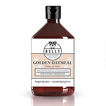Shampoing pour chien de BELLY Golden Oatmeal | 500 ml | Démêlant et anti chute de poils pour chiens | Agit contre les démangeaisons | Rend le poil doux | Alternative au shampoing sec pour chien