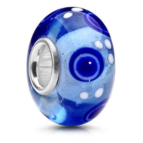 MATERIA Murano 1286 cuentas de cristal con lunares azules y blancos – Colgante de plata de ley 925 para manualidades con joyas