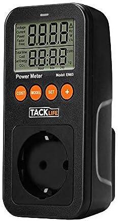 Tacklife Advanced EM03 Medidor de Consumo de energía/Medidor de Potencia de salida/100-260V AC/16A 3680W MAX/Calcular Gastos de Consumo electrico