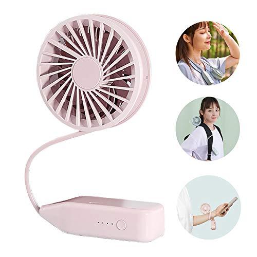 Recargable multifuncional N en 1 ventilador plegable ventilador de escritorio USB colgante del cuello del ventilador del ventilador del cochecito, para juegos al aire libre Viajes camping (Pink)