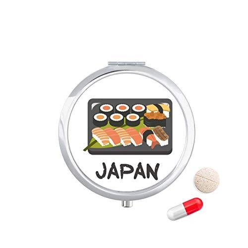 DIYthinker Traditionele Japanse Sushi Box Travel Pocket Pill Case Medicine Drug Opbergdoos Dispenser Spiegel Gift