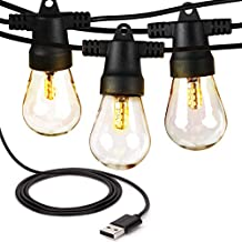 Brightech Ambience Pro Camping Lights - USB Powered Waterproof Outdoor String Lights - Shatterproof Bulbs - Lightweight & Bright Enough to Cook By - LEDs Don't Heat So Safe to Touch