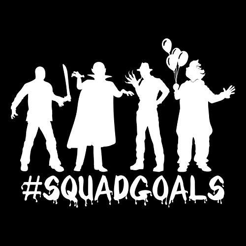#Squadgoals Zombie Clown Monster Freddy Jason Vinyl Decal Sticker | Cars Trucks Vans SUVs Walls Cups Laptops | 7 Inch | White | KCD2651