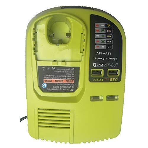 P117 Chargeur de remplacement pour Ryobi 12-18V NI-CD NI-MH Batterie Li-ion pour outils électriques with usb pour Ryobi P102 P103 P104 P105 P107 P108 P122 RB18L15 RB18L25