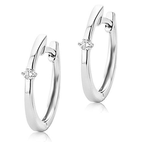 Orovi Damen Diamant Gold Creolen Ohrringe Weißgold Ohrringe 9 Karat (375) Ohr-Schmuck Brillianten 0.04ct