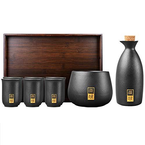 LTLWSH 7 Piezas Sake Set, Juego de Tazas de Sake Japones, 1 Cuenco de Calentamiento, 1 Botella de Sake, 4 Tazas y Bandeja, Entretener a Sus Invitados a la Cena,1 Pot 6 Cups,Without Base