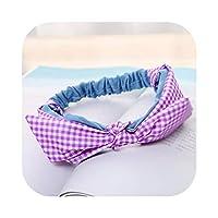 Rabbit Ear Plaid Hair Bands Ponytail Holder Striped Headband Girls Bow Knot Hairband Head Wrap Women Hair Accessorie-D-One Size