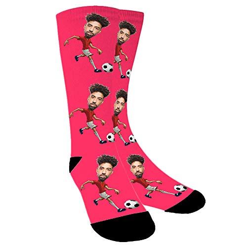 Aolun Calcetines Personalizados Con Fotos,Jugar fútbol,Ponga Su Cara En Calcetines Para Hombres, Mujeres
