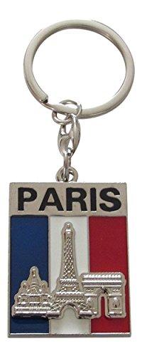 Schlüsselanhänger,-Schmuckstück tasche Eiffelturm und Arc de Triomphe, Frankreich, Paris aus Metall. C3.