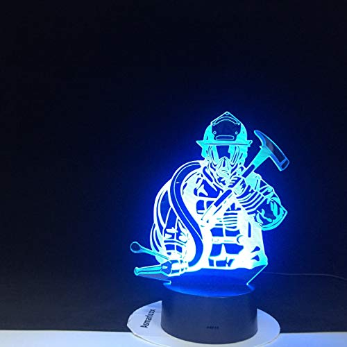 Only 1 Piece Fireman LED 3D Modeling USB Night Lights Creative Firefighter Table Lamp Home Decor 7 Colors Changing Sleep Lighting Kids Gifts
