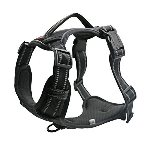 """Stella-Lou Dog Harness No Pull Reflective no Choke Humane Dog Training, Heavy Duty Easy on/Off Adjustable Two Attachment Rings Small, Medium, Large, Extra Large (Medium Neck 14-20"""" Chest 16-28"""")"""