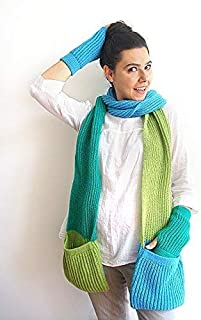 Set of Wool Scarf with Pocket & Gloves with Heart