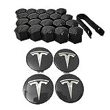 Jinclonder Tesla Model 3 Aero - Set di coprimozzo e copribulloni, Nero e argento