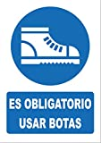 Señal uso obligatorio de calzado de seguridad- PVC 0,7mm - 21 x 30cm – cartel uso obligatorio de calzado de seguridad – señal obligación.