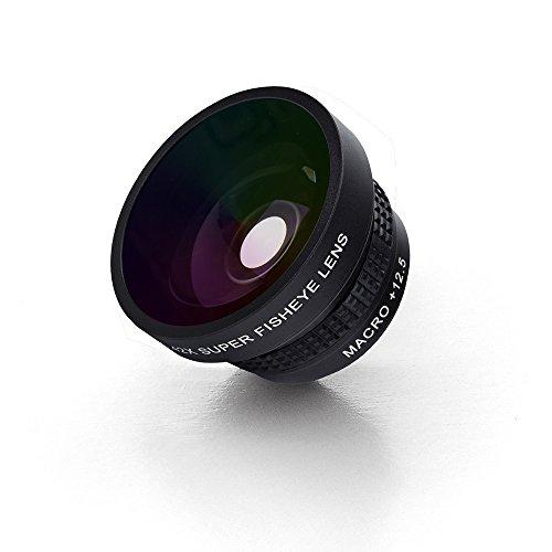 OREA Lente 2 en 1 para cámara de teléfono, lente ojo de pez de 180 grados y lente macro de 12,5 x para iPhone 7, 7 Plus, 6S, 6S, 6S, Plus, 6, 5, Galaxy S7 y la mayoría de smartphones (negro)
