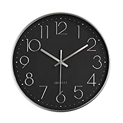 Foxtop Modern 12 Battery Operated Silent Non-Ticking Wall Clock Digital Quiet Sweep Office Decor Clocks, Silver Plastic Frame Glass Cover (Black Dial, Arabic Numeral)