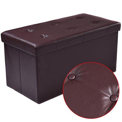 COSTWAY Sitzbank Sitzhocker Sitzbox Aufbewahrungsbox, Sitzwürfel Hocker, Polsterhocker faltbar, Truhe Bank, Sitztruhe PVC-Leder 76 x 38 x 38cm, Sitzkasten Farbwahl (Braun) - 6