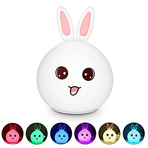 Deerbird® Portable USB Rechargeable Créatif Lapin mignon Bunny Robinet Sensible Modules de contrôle d'éclairage de respiration à 7 couleurs Doux Silicone Lamp Nuit Lumière pour de lit de chevet