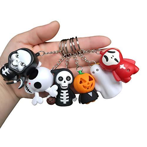 BIGMAC - Confezione da 6 portachiavi a LED con suono spaventoso per decorazione di Halloween, giocattolo carino per bambini, portachiavi per auto