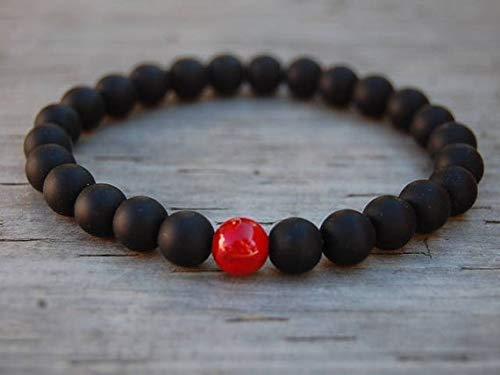 LOVEKUSH Jewelry Energy - Pulsera elástica de 8 mm, ónix rojo y ónix y coral, redonda, lisa, 17,78 cm, para hombres, mujeres, gf, bf y adultos.